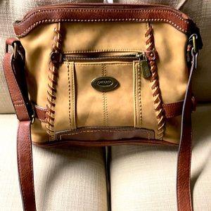 Concept K Suede and leather crossbody handbag